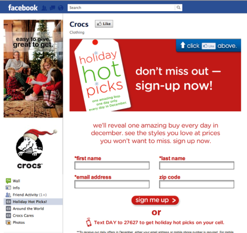 email opt-in on facebook page