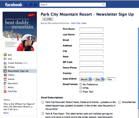 email sign up form
