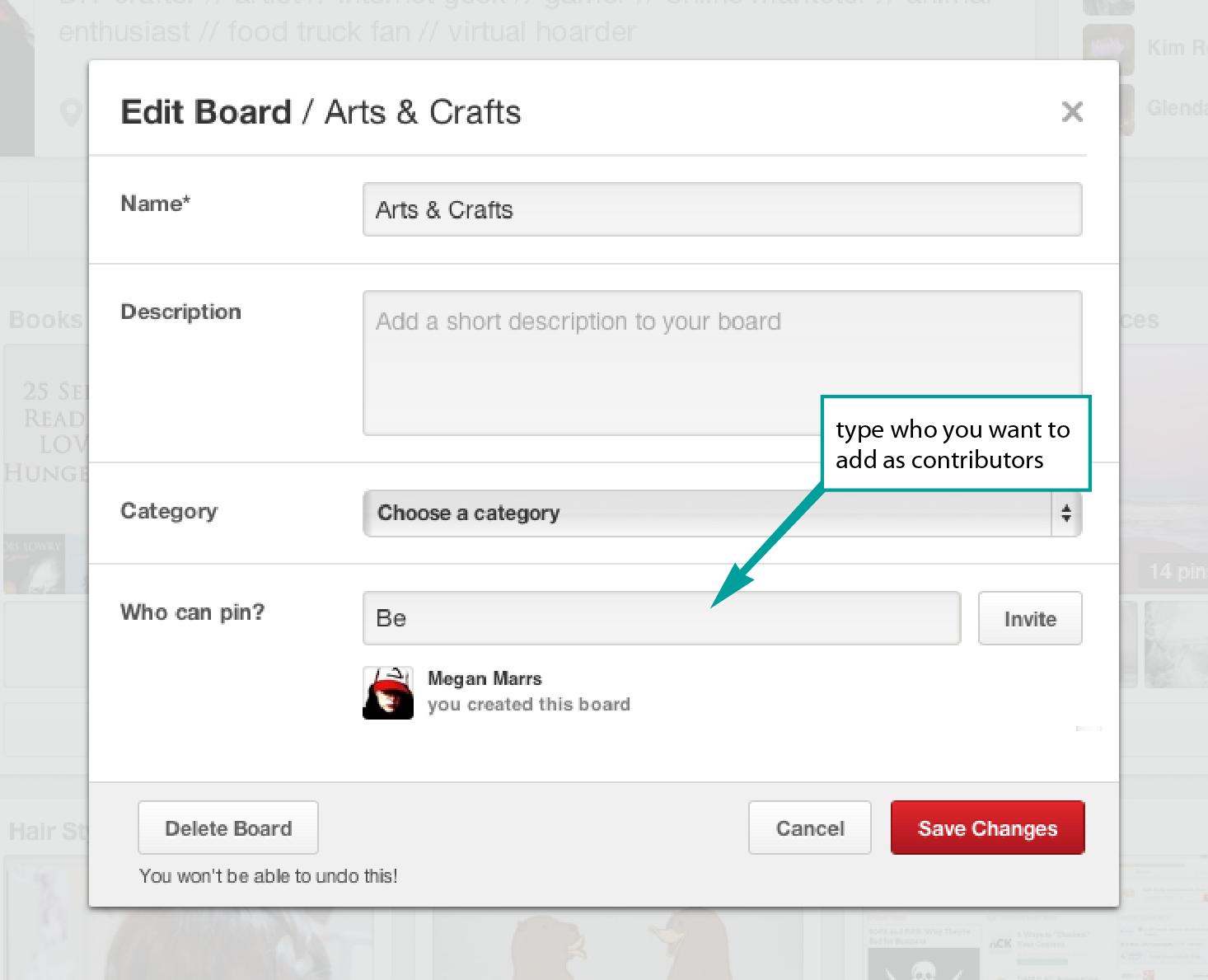 Adding Contributors to Pinterest