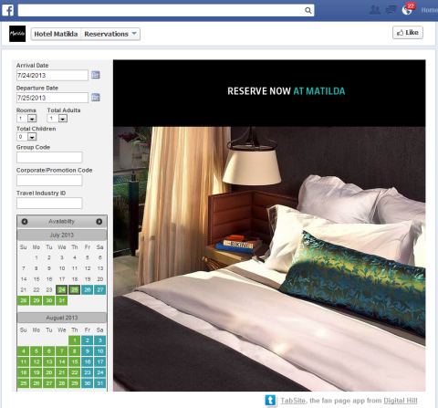 reservations web page tab