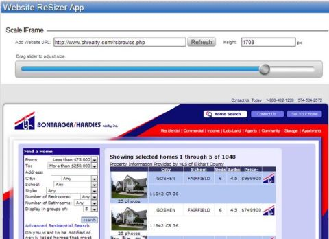 listing web page tab