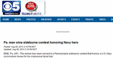 Mans Wins Sideburns Contest Honoring Navy Hero