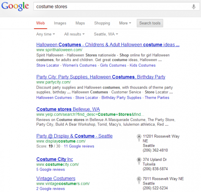 Screen cap of costume stores Google search.